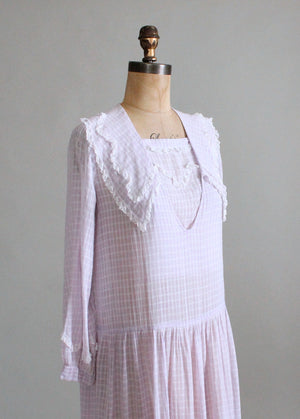 Vintage 1920s Lavender Cotton Organdy Day Dress