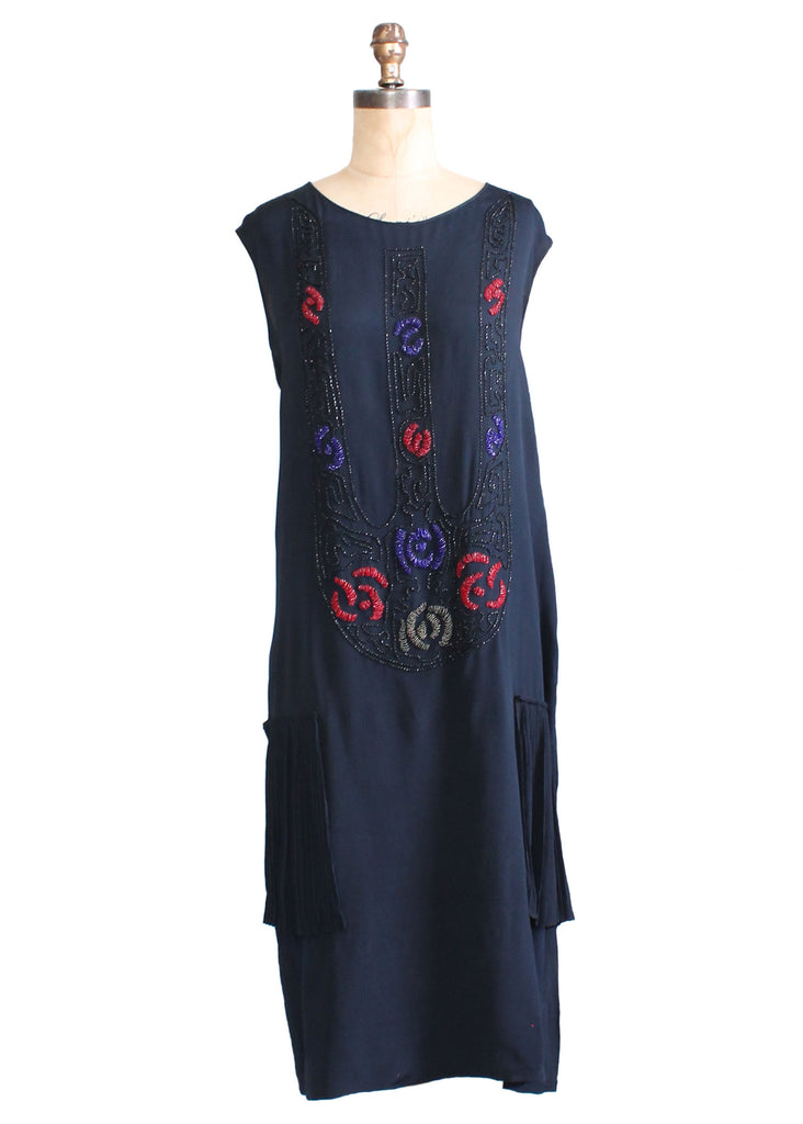 Vintage 1920s Navy Silk Beaded Flapper Dress