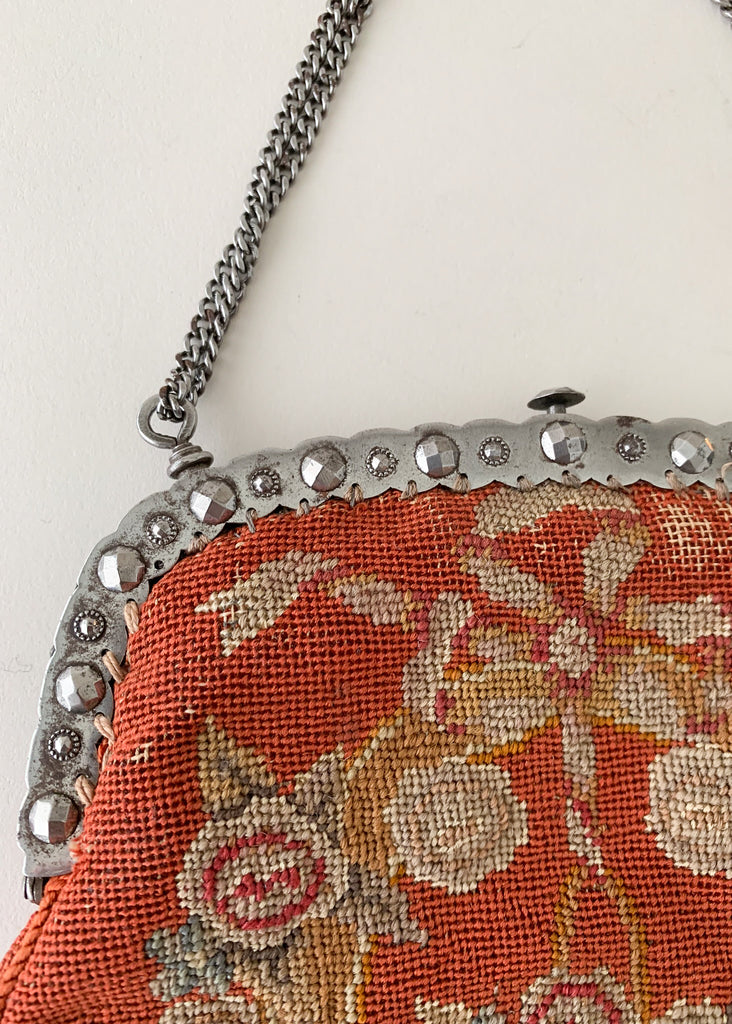 1920s Needlepoint and Silver Purse