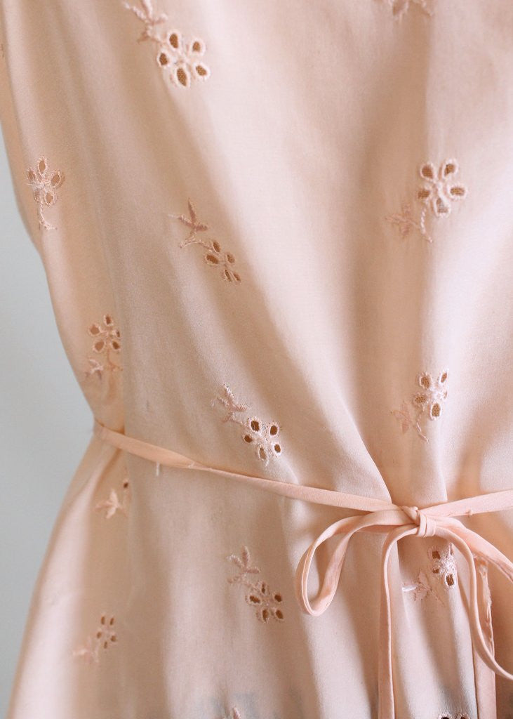 Vintage 1930s Peach Silk Eyelet Step-In Teddy
