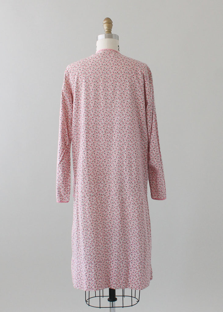 Vintage 1920s Pink Floral Cotton Day Dress