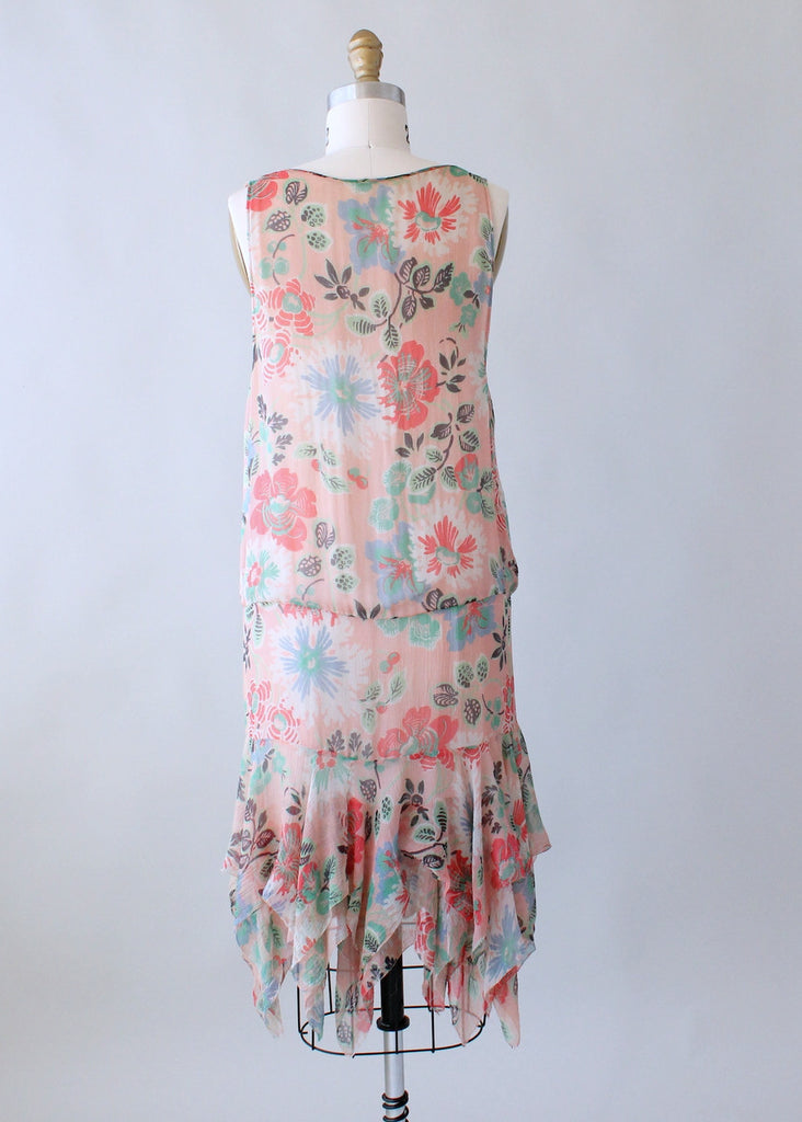 Vintage 1920s Pink Floral Flapper Dress with Handkerchief Hem