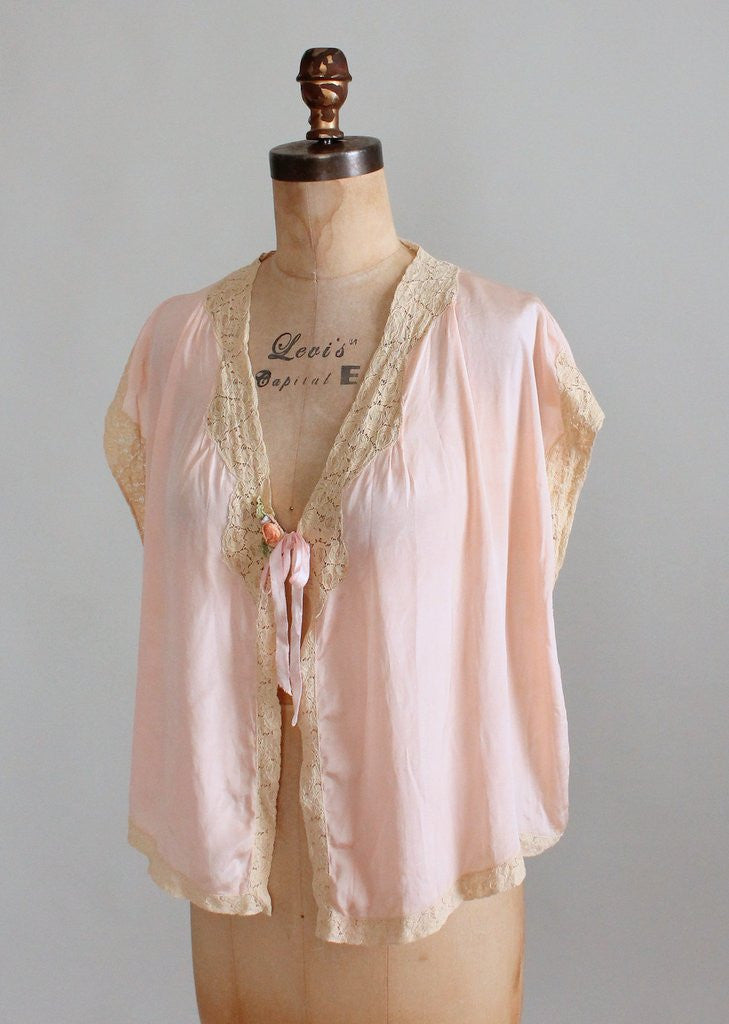 Vintage 1920s Pink Silk and Lace Bed Jacket