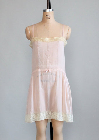 Vintage 1920s Pink Silk and Lace Step In Teddy