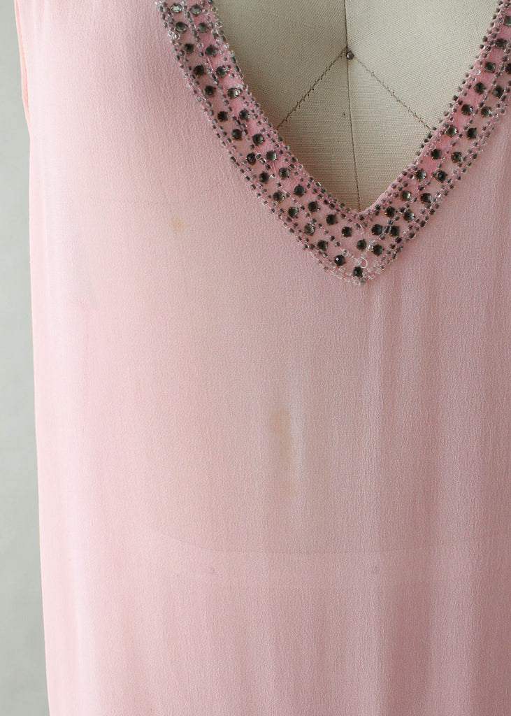 Vintage 1920s Sheer Pink Flapper Dress with Silver Beading