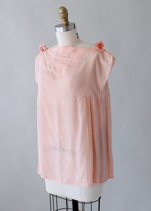 Vintage 1920s Pink Silk Top with Side Pleating