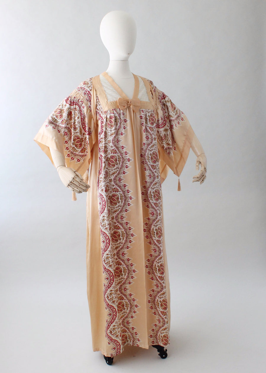 Vintage 1920s Printed Silk Robe with Tassels