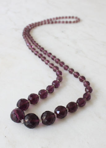 Vintage 1920s Purple Glass Bead Necklace