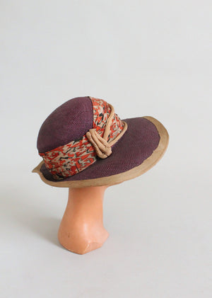 Vintage 1920s Purple Straw Wide Brim Cloche Hat
