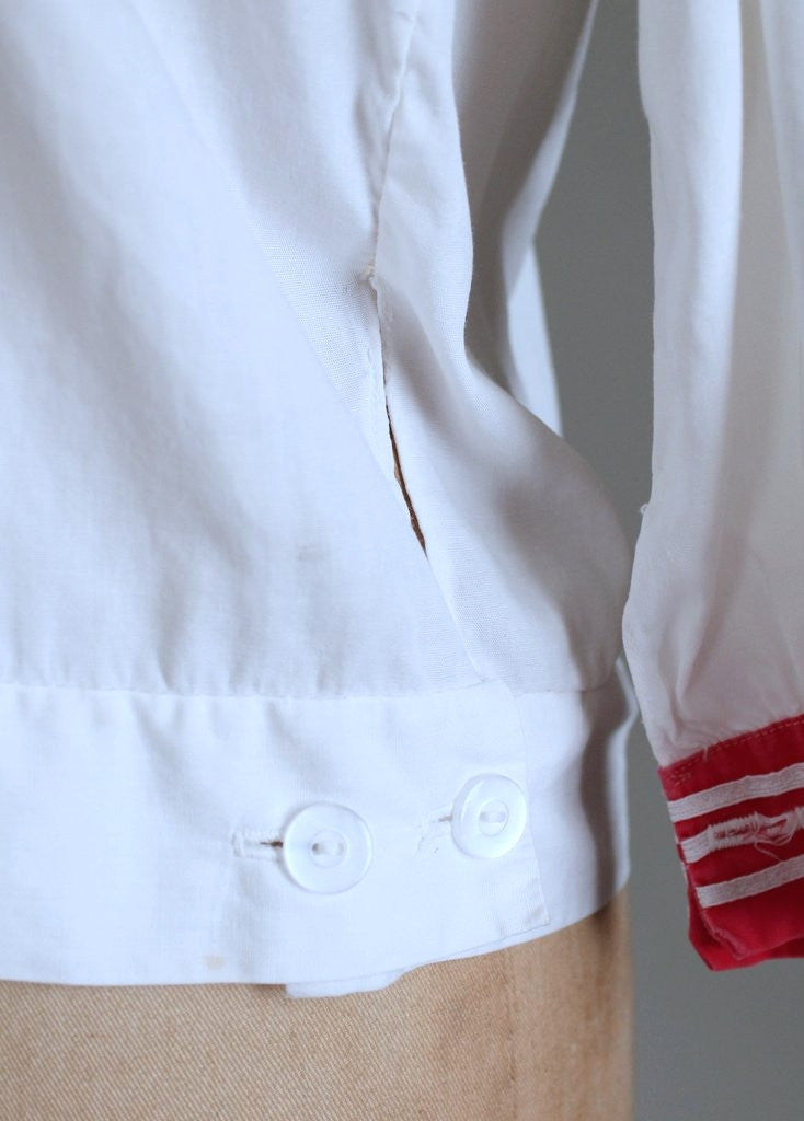 Vintage 1920s Red and White Sailor Style Midi Blouse