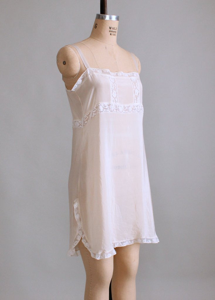 Vintage 1920s Silk and Lace Step In Onesie Teddy