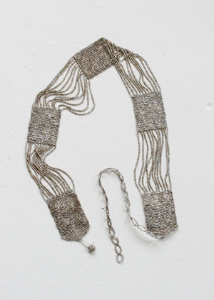 Vintage 1920s Silver Beaded Flapper Belt