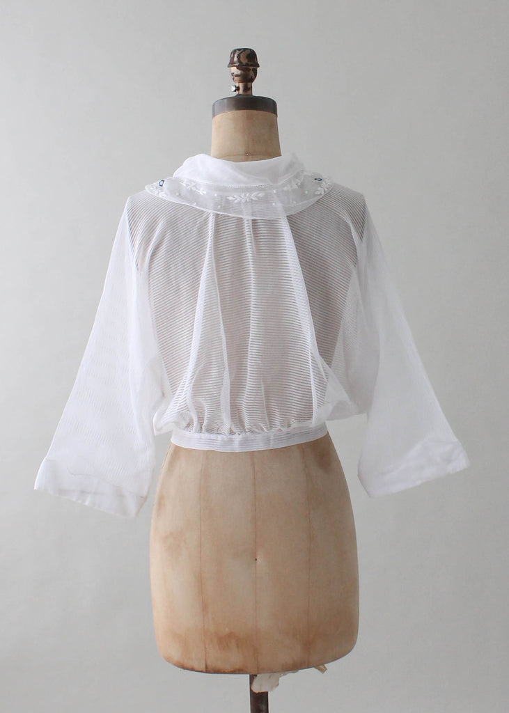 Vintage 1920s Embroidered Sheer Cotton Blouse