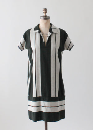 Vintage 1920s Striped Wool Day Dress