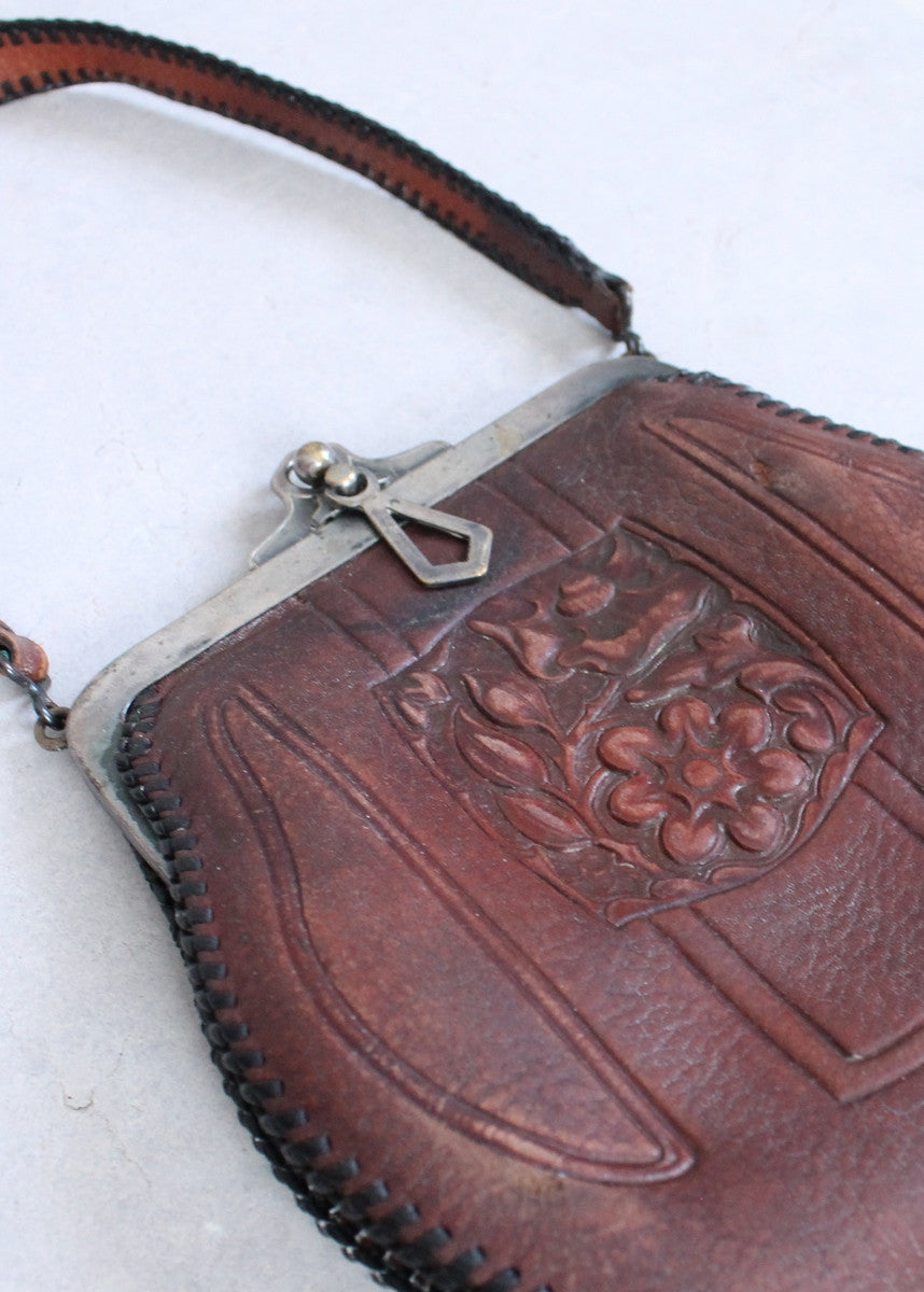 Vintage 1920s Tooled Leather Flapper Day Purse