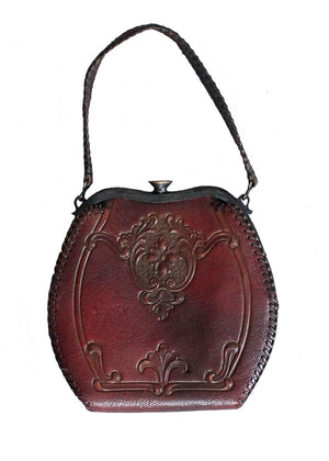 Vintage 1930s Art Deco Floral Tooled Leather Purse