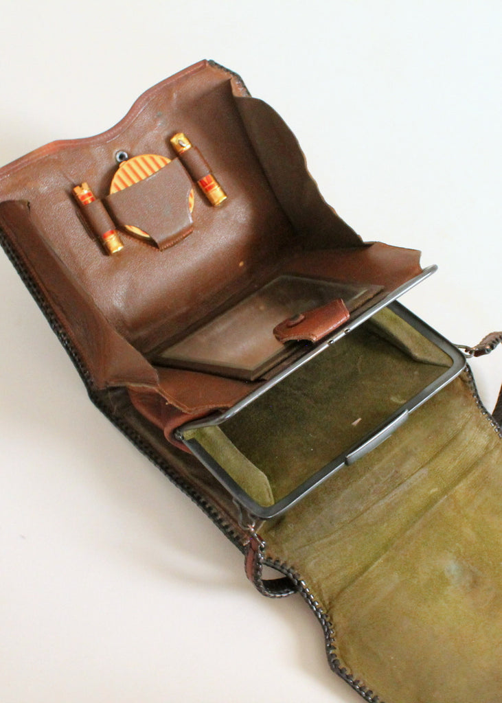 Vintage 1920s Tooled Leather Purse with MakeUp Compartment