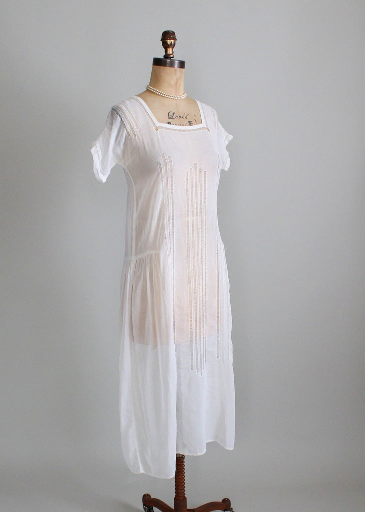 Vintage 1920s Summer Cotton Lawn Dress Raleigh Vintage