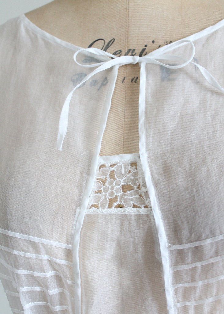 Vintage Early 1920s White Organdy Lawn Dress