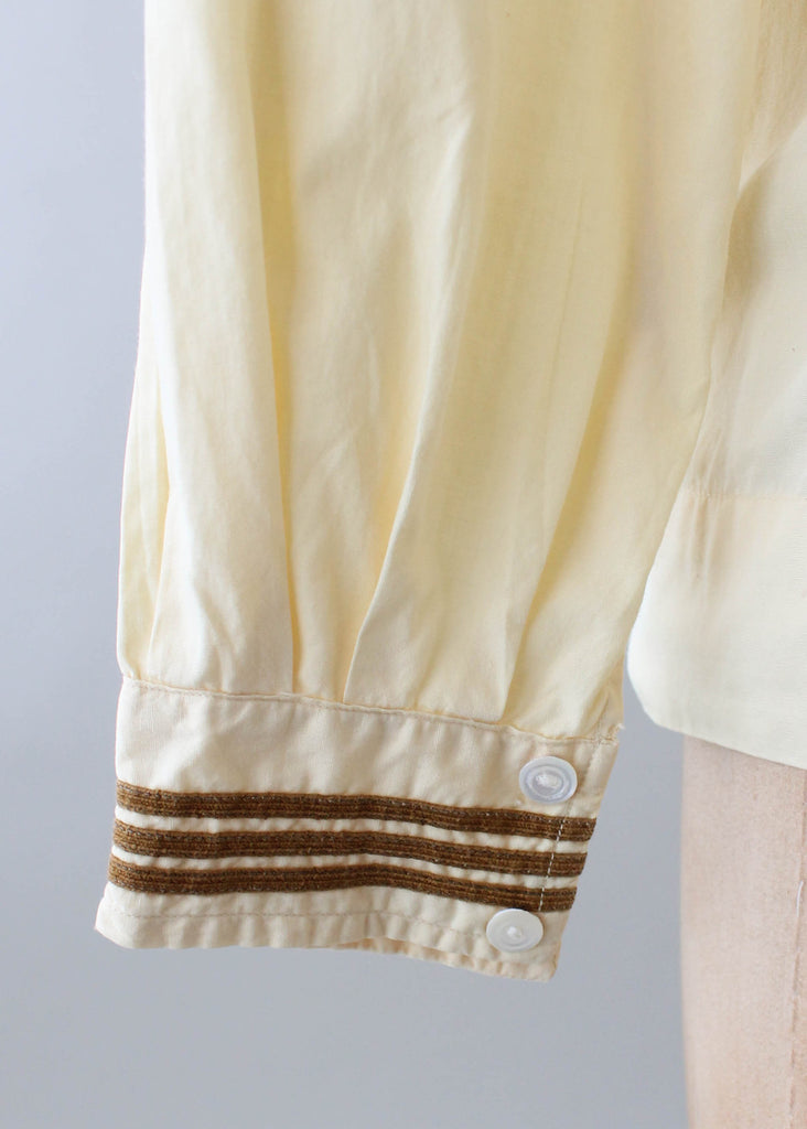 Vintage 1920s Yellow Midi Sailor Top