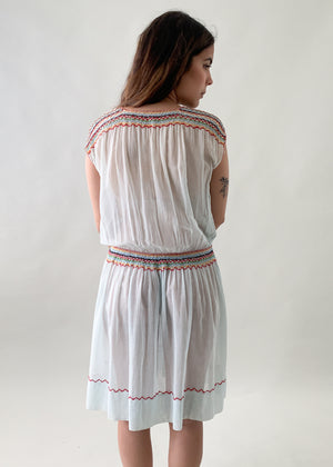 Vintage 1920s Embroidered Cotton Dress