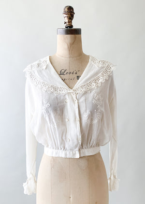 Antique Edwardian Embroidered Cotton Blouse