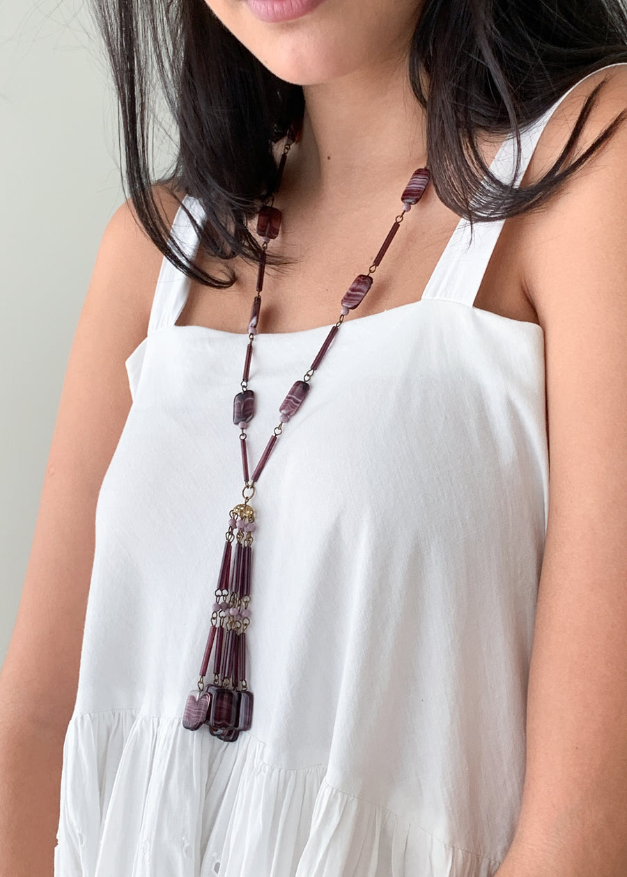 Vintage 1920s Purple Glass Tassel Necklace