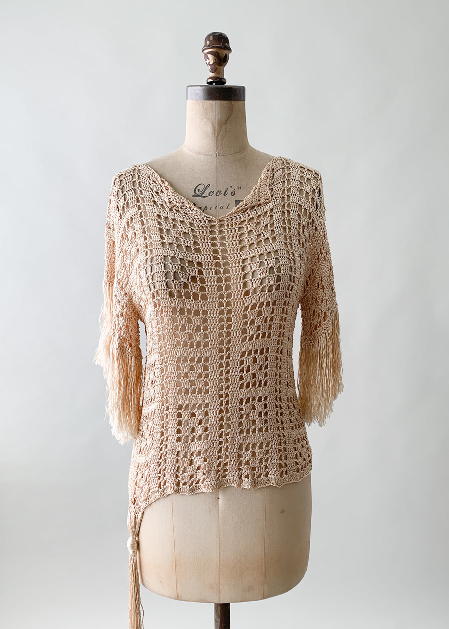 Vintage 1920s Fringed Knit Top