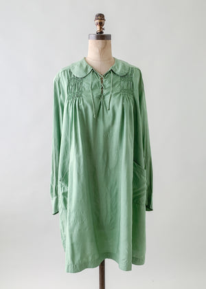 Vintage 1920s Smocked Pongee Silk Tunic Dress