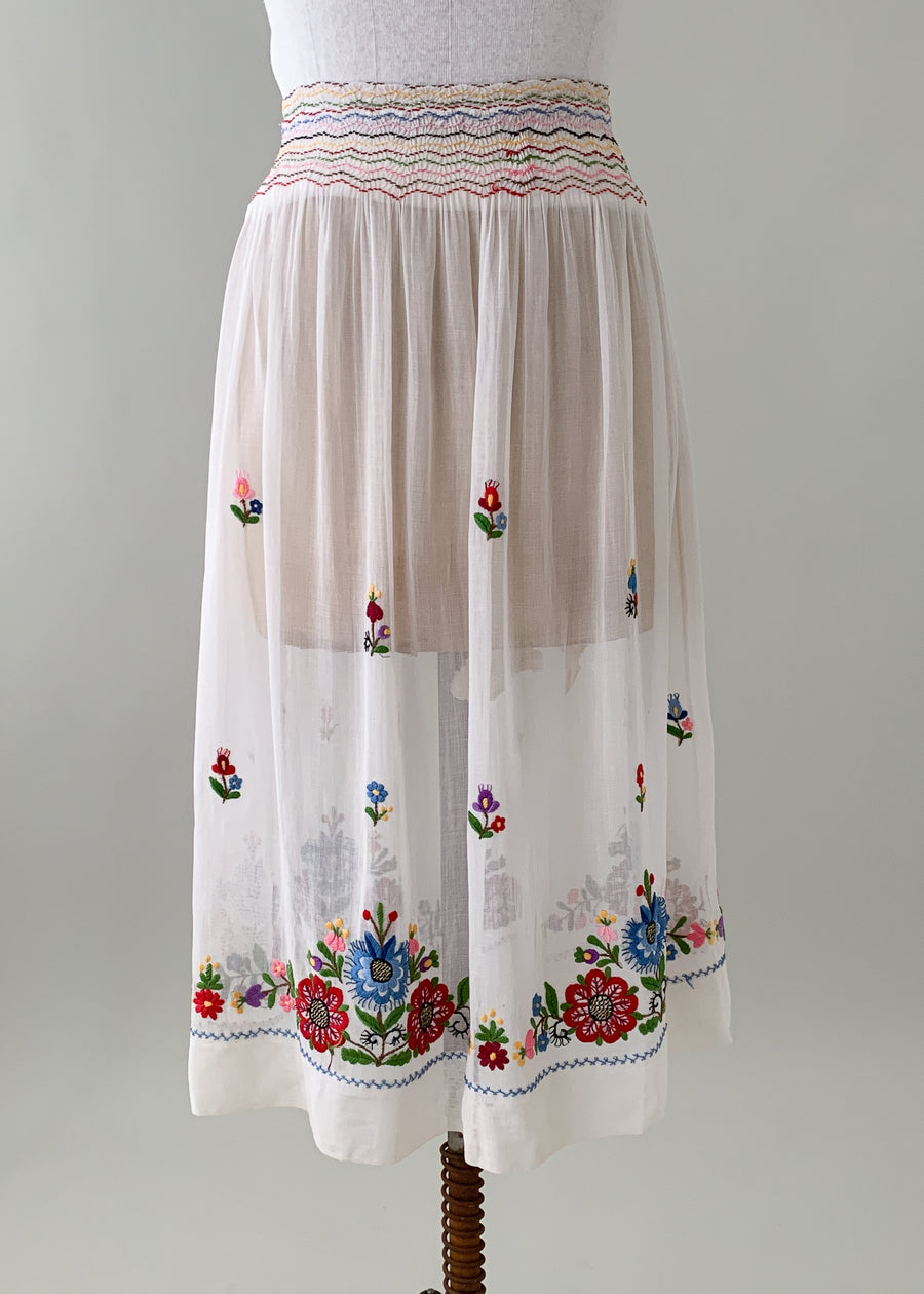 Vintage 1930s Embroidered and Smocked Skirt