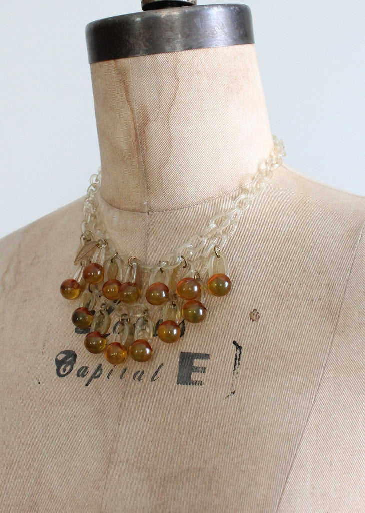 Vintage 1940s Applejuice Bakelite and Celluloid Necklace