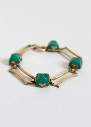 Vintage 1930s Art Deco Green Glass and Brass Bracelet