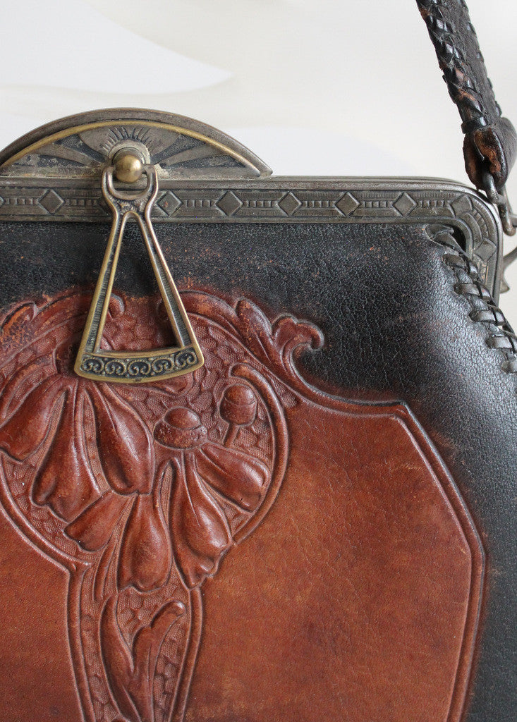 1930s Tooled Leather Art Deco Purse