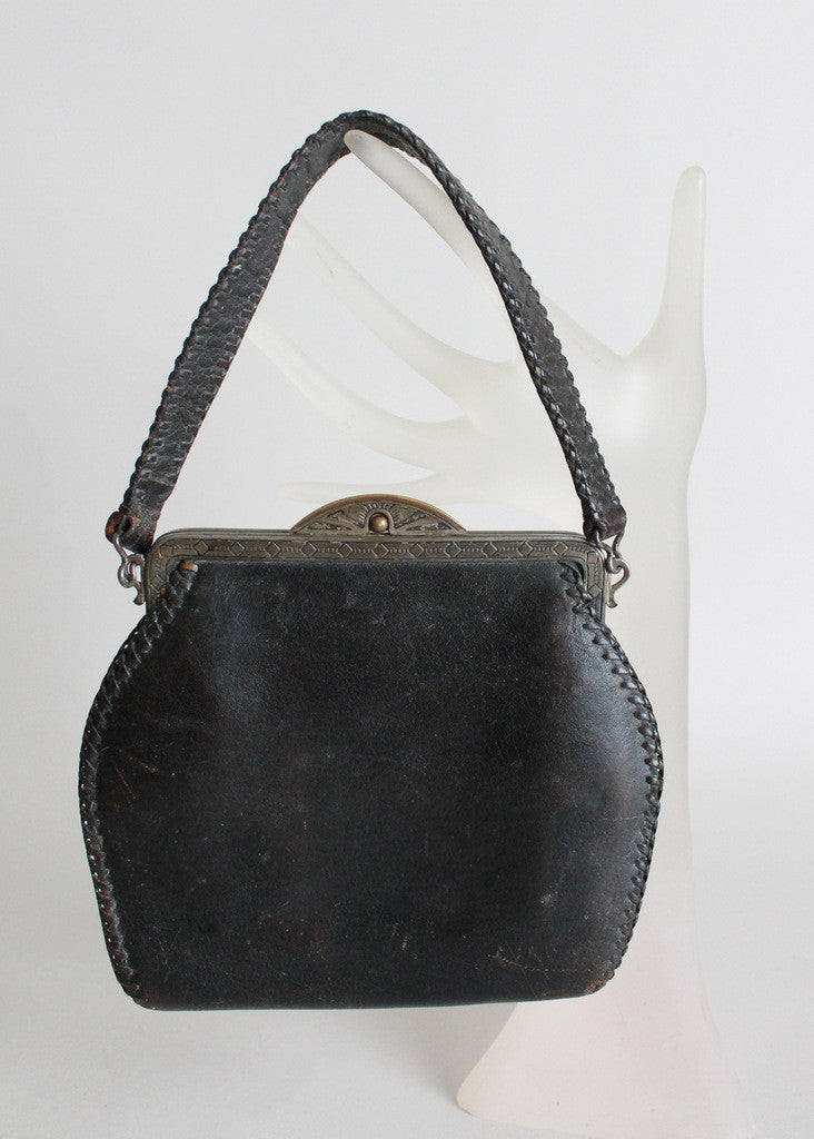 Vintage Early 1930s Art Deco Tooled Leather Purse