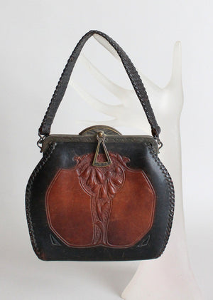 1930s Art Deco Tooled Leather Purse