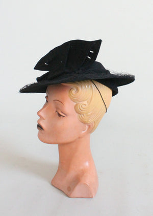 Vintage 1930s Noir Leaves Black Tilt Hat