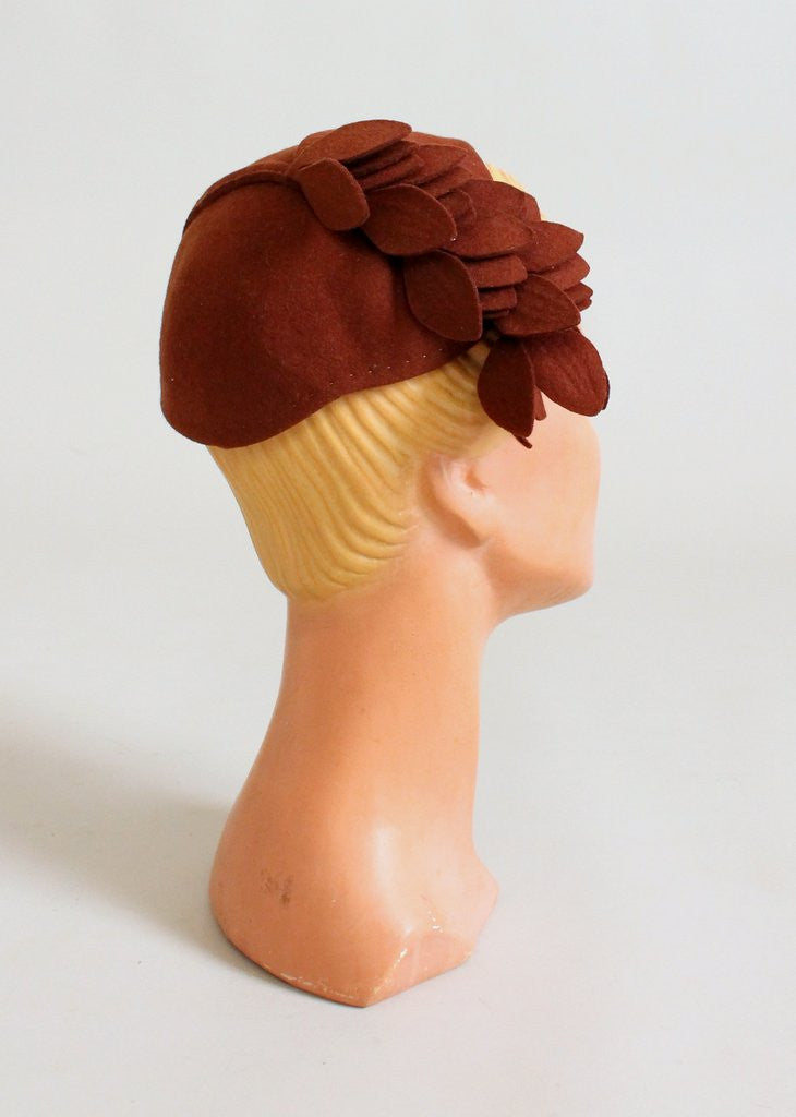 1930s Art Deco Brown Felt Falling Leaves Hat