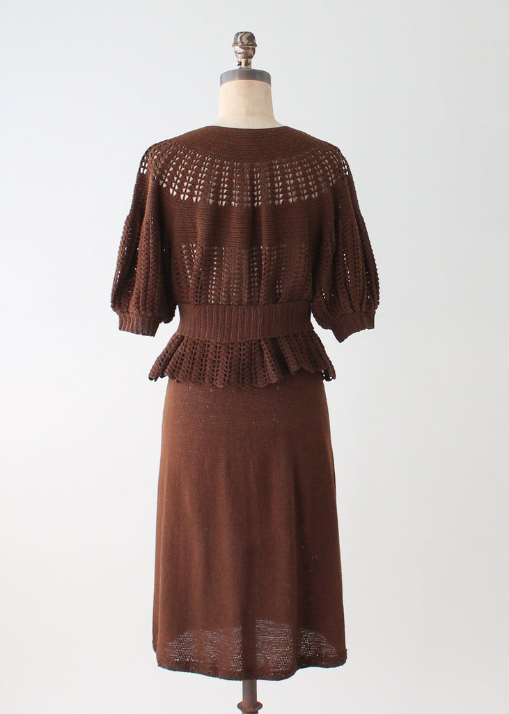 Vintage 1930s Art Deco Knit Dress Set