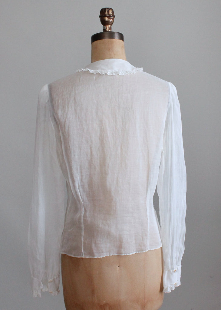 Vintage 1930s Best and Co Sheer Cotton Blouse
