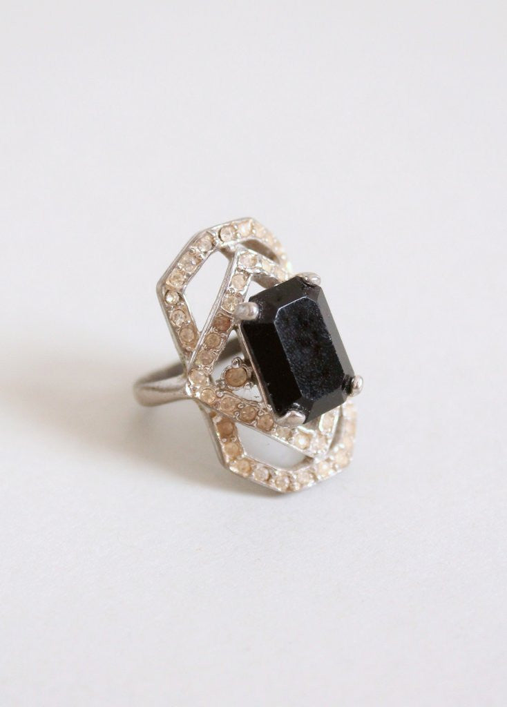 Vintage 1930s Black Glass and Rhinestone Cocktail Ring