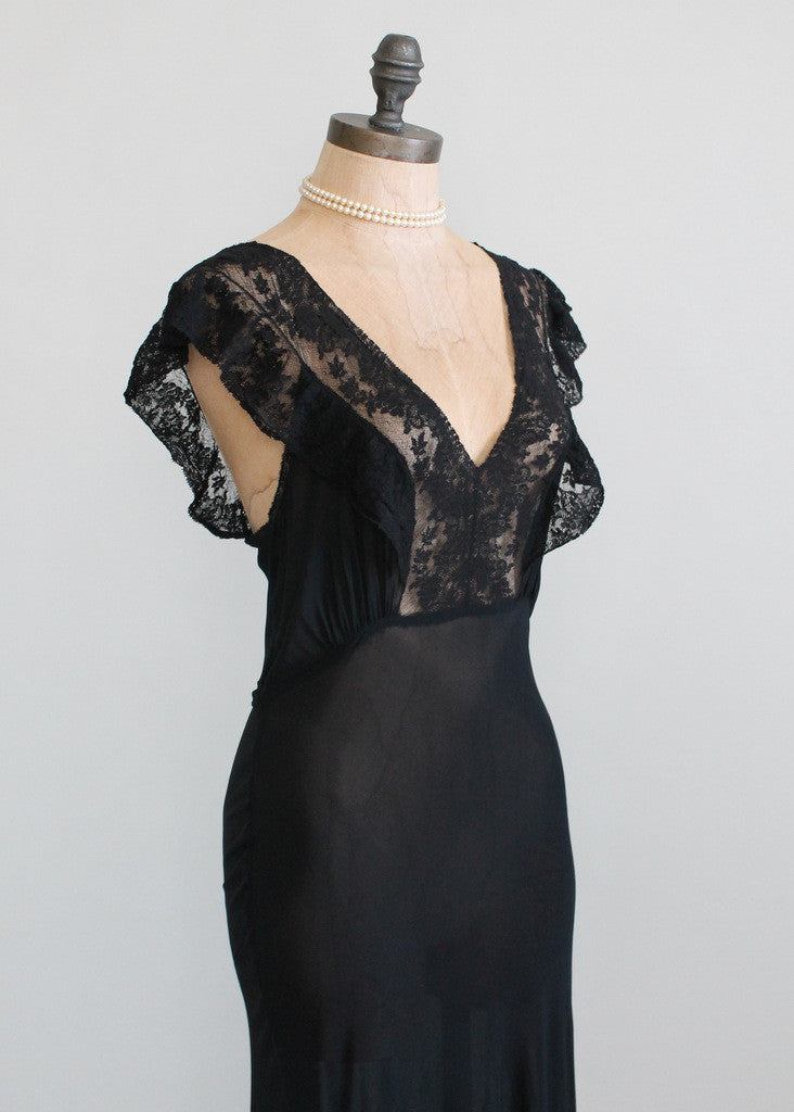 Vintage 1930s Black Crepe and Lace Nightgown