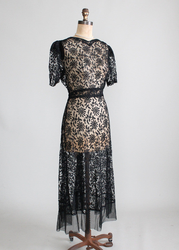 1930s Black Lace Dress