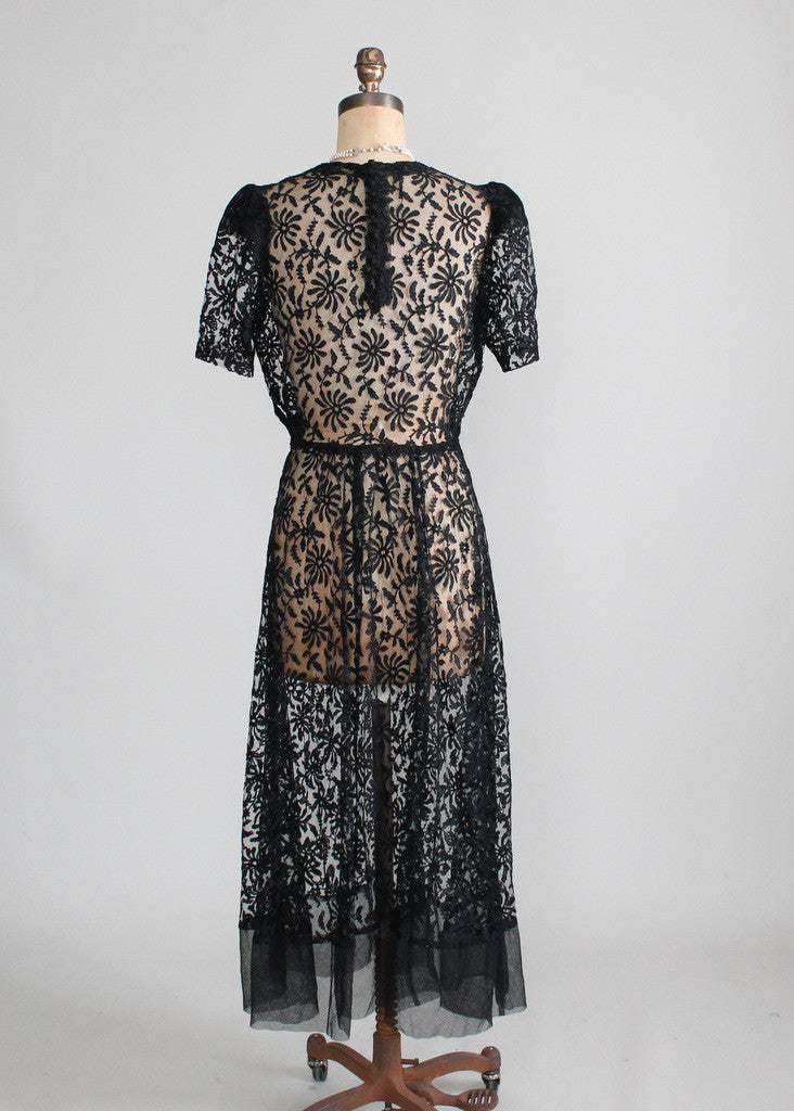 Vintage 1930s Black Lace Sweetheart Dress