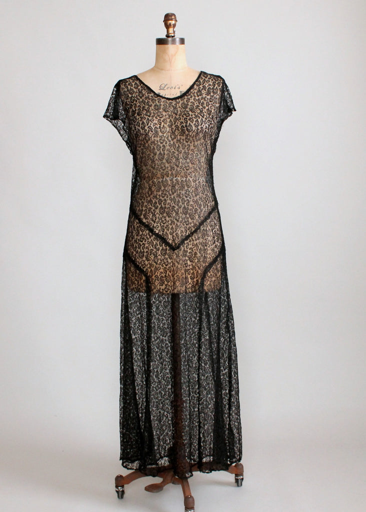 Vintage 1930s Sheer Black Lace Evening Dress