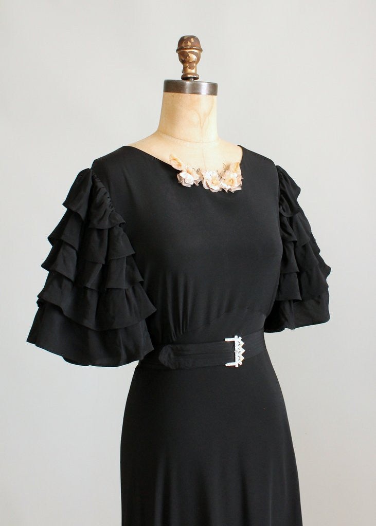 Vintage 1930s Seville Black Rayon Evening Dress Raleigh