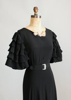 Vintage 1930s Seville Black Rayon Evening Dress
