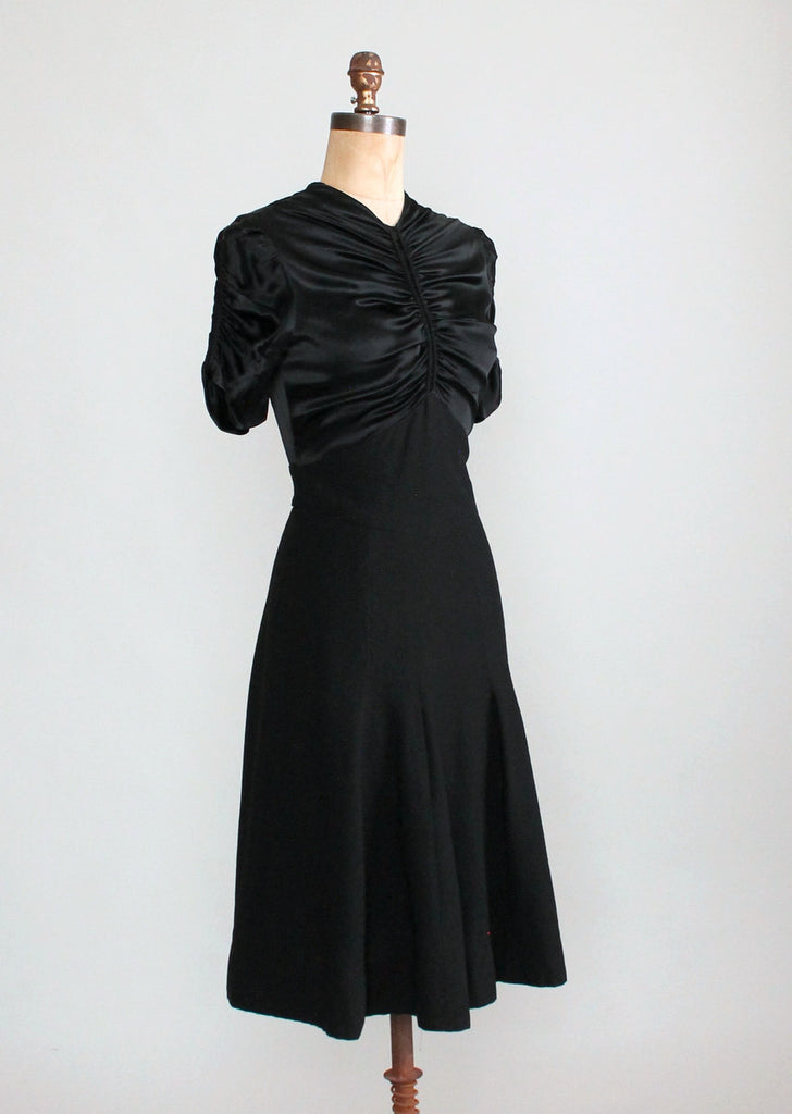 Vintage 1930s Black Satin and Wool Swing Dress