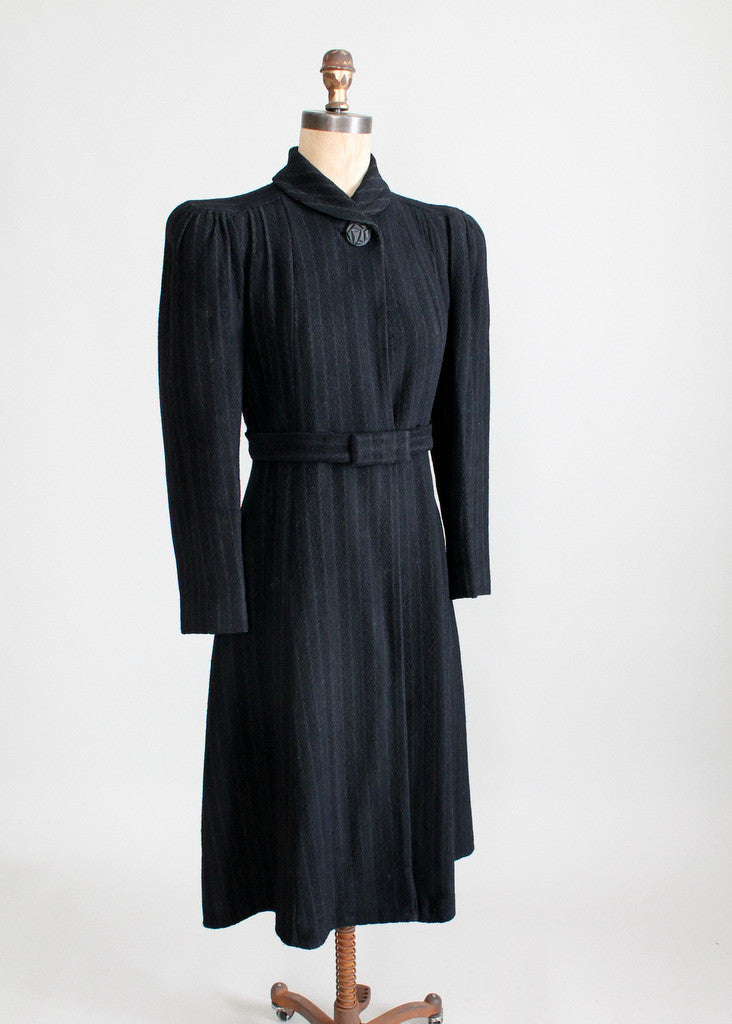 Vintage Late 1930s Pinstriped Wool Coat