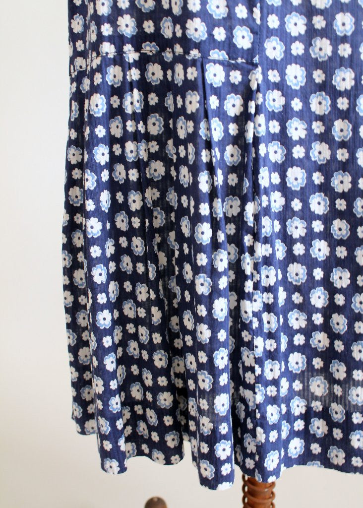 Vintage 1930s Blue Floral Cape Sleeve Day Dress