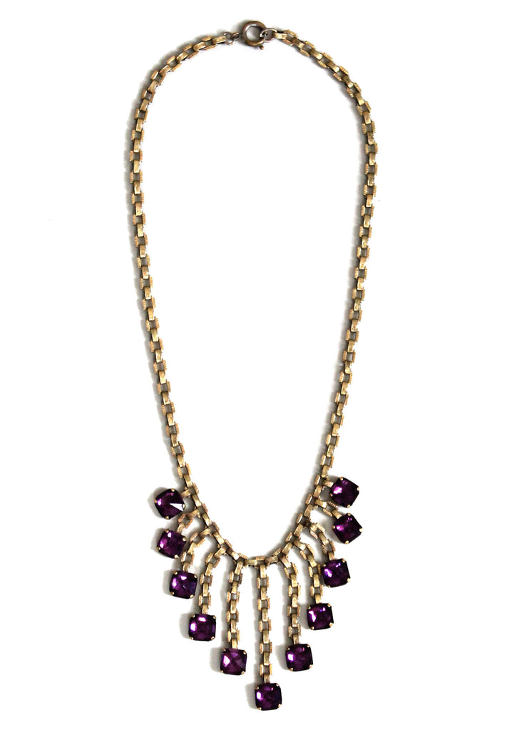 Vintage 1940s Brass and Purple Glass Bib Necklace